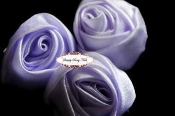  ~ Lavender ~ 3 inch Satin Rolled Rosettes ~ Perfect roses for DIY fashion or wedding accessories hair flowers, sashes, pillows