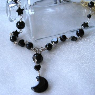 Moon, Stars, Hearts Black Onyx Quicksilver Necklace