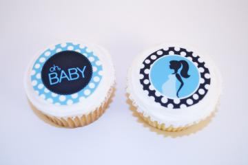 Mommy & Baby - Blue Edible Cookie and Cupcake Toppers - 24 Toppers