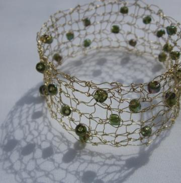 Handcrafted Gold Knit Wire Bracelet with Glass Beads for sale