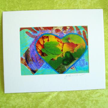 LEAFY HEART Photoprint, 5x7 print matted to 8x10 inches overall