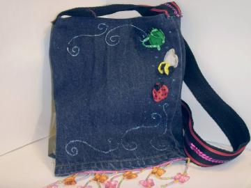 'cute as a bug' Upcycled Jean bag- perfect for Kindle, e-reader, nook, small Tablet pc's