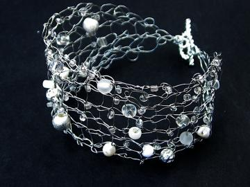 Handcrafted Silver Knit Wire Bracelet with Beads, Pearls for sale