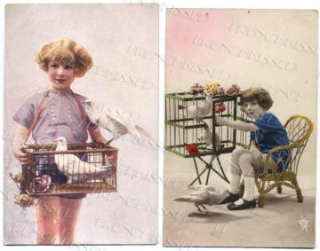 2 Art Deco BIRD CAGE postcards Doves