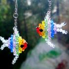 Earrings Beaded Swarovski crystal rainbow Angelfish angel fish sparkling by Orchid's Orchard