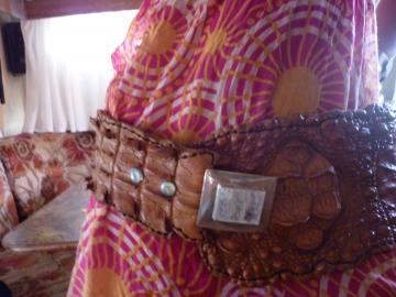 crocodile belt with moonstone buckle