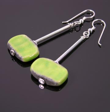 Lime green Raku earrings