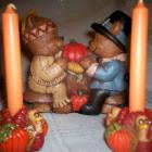 Thanksgiving Pilgrim Bear Napkin Holder, 2 Turkey Candle Holders w/ Free Candles