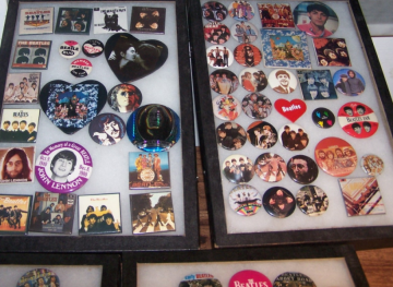 Beatles Button Collection in Glass Cases