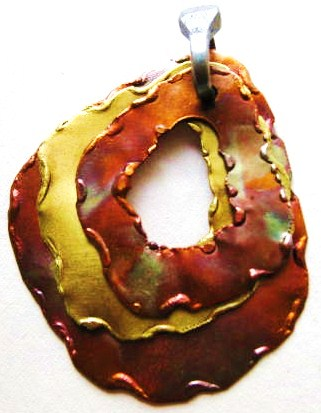 Pendant, Copper and Brass Loop