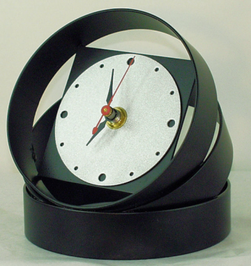 Orbis Modern Desk Clock - stacked black rings