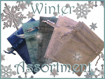 50 3x4 Sheer Winter Assortment Organza Bags