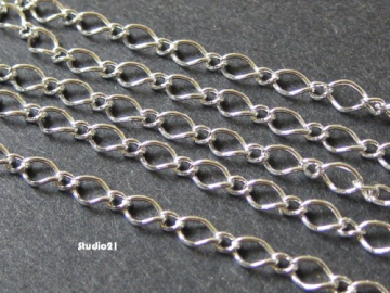 5 feet of Bright Silver Long and Short Curb Chain