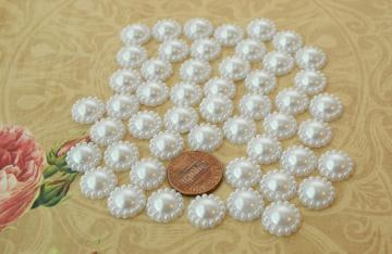 White flower shape half pearls 12MM, 50 pieces
