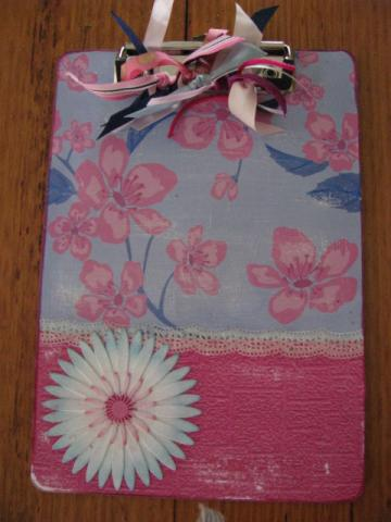 Pink & Blue Altered ClipBoard