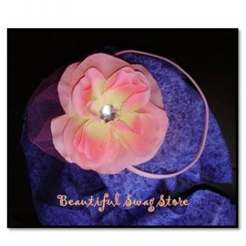 Pink Double Rose Bling Elastic Headband