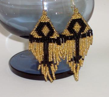 Ankh - Handwoven Beaded Earrings