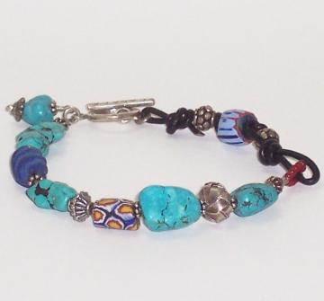 Turquoise Bracelet Lapis Trade Bead and Leather