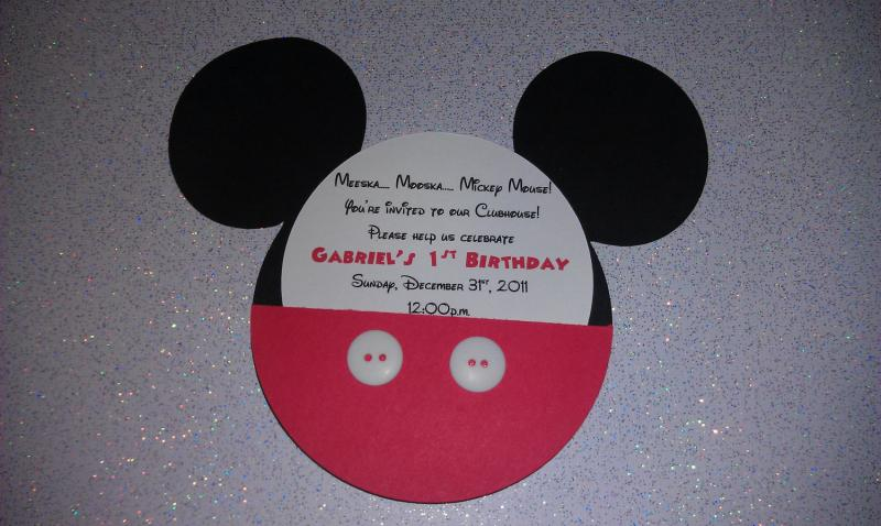 Handmade Mickey Mouse Invitation REAL BUTTONS QTY 20 Enlarge Image