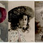 5 antique French postcards Girls HATS Bows Glitter Flowers