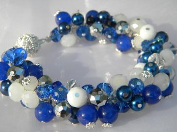 Royal Blue Pearl Crystal Cluster Bracelet