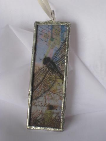2 In 1 - Glass Slide Pendant  - Dragonfly/Floral