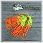 Pop's Spinner Bait Single Spin 3/8 Ounce Chartreuse with Fire Tips