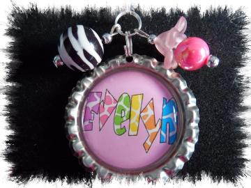 Personalized Giraffe print bottlecap necklace