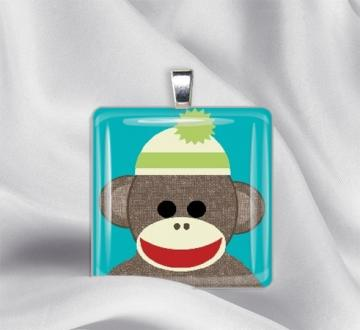Sock Monkey Glass Tile Pendant Necklace