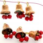 6 Vintage Aged Copper Bells with Red Bead Dangles - Japan