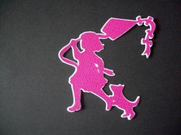 Spring little girl w/ kite Silhouette diecuts scrapbooking