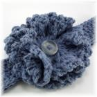 Denim Blue Crocheted Flower and Head Band