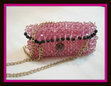 Mini Bag Charm / Hangtag  - handmade with acrylic beads