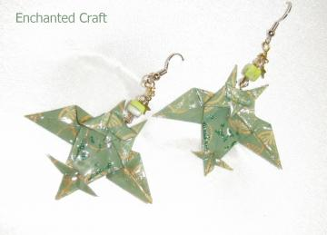 Green Origami OWL Earrings with glass beads