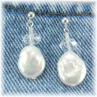 Freshwater Pearl and Crystal Earrings