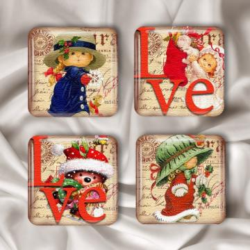 Christmas Love Glass Tile Magnets Set of 4