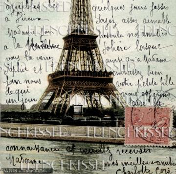 VINTAGE Eiffel Tower colorful PARIS postcard Digital Scan FRENCH Script Red Postage Stamp