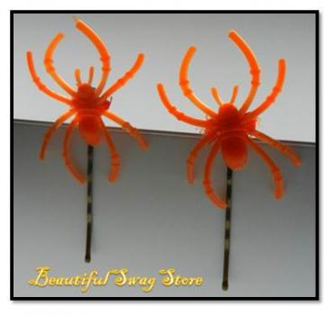 Pumpkin Spiders Hair Pins