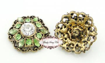 RD94 Lime Green on Antique Gold Metal Vintage Inspired 1 inch Rhinestone Embellishment Buttons - Add to flowers, invitations, frames, accessories ~ WHERE EVER!