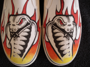 Cobra and Colored Flames Custom Designed Shoes
