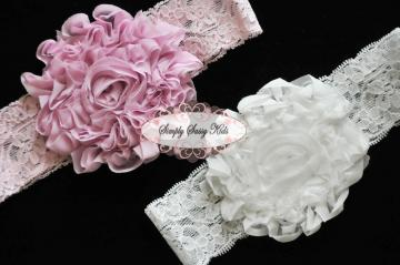 PINK Shabby Flower Lace Headband  ~ Perfect for babies and Toddlers ~ Premade