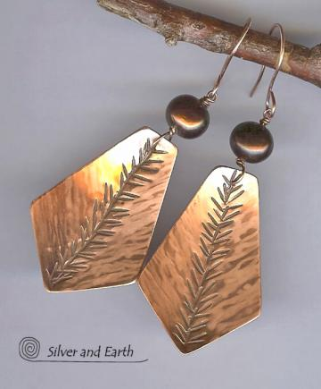 Nature Inspired Handmade Copper Earrings with Bronze Pearls- with Hand Stamped Fern Pattern