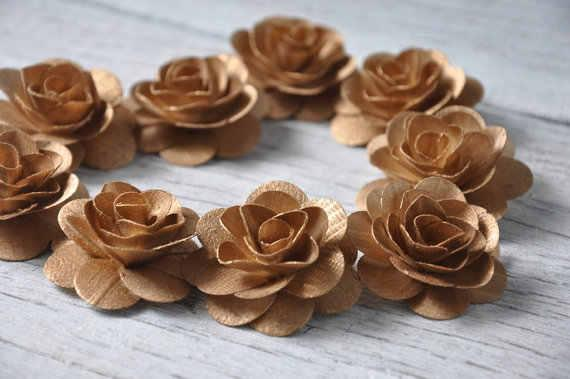 Wooden Roses Birch Wood Rustic Wedding Orchid Purple Copper Gold