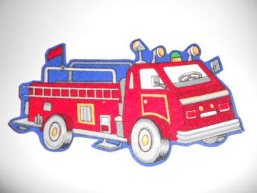 Fire Truck Fabric Iron-on Applique (01)
