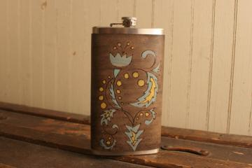 12oz Flask - Leather and Stainless Steel - Melody pattern with art nouveau flower