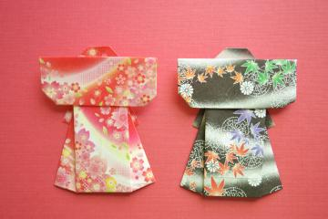 Origami Kimono Set - Red and Black