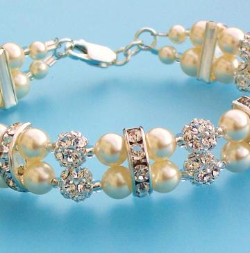 Ivory Pearl Bracelet with Crystals and Silver