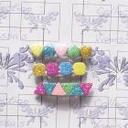 Glitter Barrettes - Hearts, Triangles, Squares Glitter Clips - Vanessa's Blossoms & Butterflies Collection