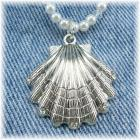 Silver Shell and Pearl Pendant Necklace