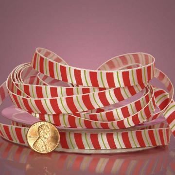 3/8 inch Christmas Ribbon Green, Red, White Traditional